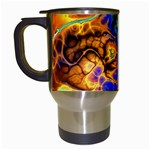 Abstract Fractal Batik Art Green Blue Brown Travel Mugs (White) Left