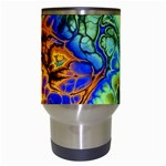 Abstract Fractal Batik Art Green Blue Brown Travel Mugs (White) Center