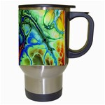 Abstract Fractal Batik Art Green Blue Brown Travel Mugs (White) Right