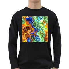 Abstract Fractal Batik Art Green Blue Brown Long Sleeve Dark T Shirts