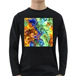 Abstract Fractal Batik Art Green Blue Brown Long Sleeve Dark T-Shirts Front