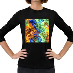 Abstract Fractal Batik Art Green Blue Brown Women s Long Sleeve Dark T-Shirts