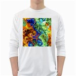 Abstract Fractal Batik Art Green Blue Brown White Long Sleeve T-Shirts Front