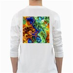 Abstract Fractal Batik Art Green Blue Brown White Long Sleeve T-Shirts Back