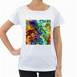 Abstract Fractal Batik Art Green Blue Brown Women s Loose-Fit T-Shirt (White) Front