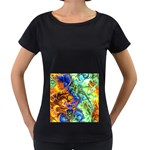 Abstract Fractal Batik Art Green Blue Brown Women s Loose-Fit T-Shirt (Black) Front