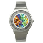 Abstract Fractal Batik Art Green Blue Brown Stainless Steel Watch Front