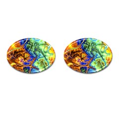 Abstract Fractal Batik Art Green Blue Brown Cufflinks (oval)