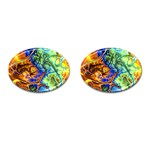 Abstract Fractal Batik Art Green Blue Brown Cufflinks (Oval) Front