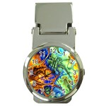 Abstract Fractal Batik Art Green Blue Brown Money Clip Watches Front