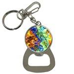 Abstract Fractal Batik Art Green Blue Brown Bottle Opener Key Chains Front