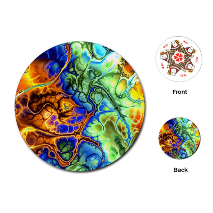 Abstract Fractal Batik Art Green Blue Brown Playing Cards (Round)