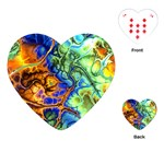 Abstract Fractal Batik Art Green Blue Brown Playing Cards (Heart)  Front
