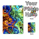 Abstract Fractal Batik Art Green Blue Brown Playing Cards 54 Designs  Front - Spade7