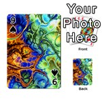Abstract Fractal Batik Art Green Blue Brown Playing Cards 54 Designs  Front - Spade9