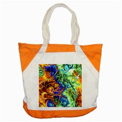 Abstract Fractal Batik Art Green Blue Brown Accent Tote Bag