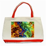 Abstract Fractal Batik Art Green Blue Brown Classic Tote Bag (Red) Front