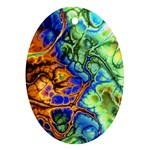 Abstract Fractal Batik Art Green Blue Brown Oval Ornament (Two Sides) Front