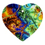 Abstract Fractal Batik Art Green Blue Brown Heart Ornament (2 Sides) Front