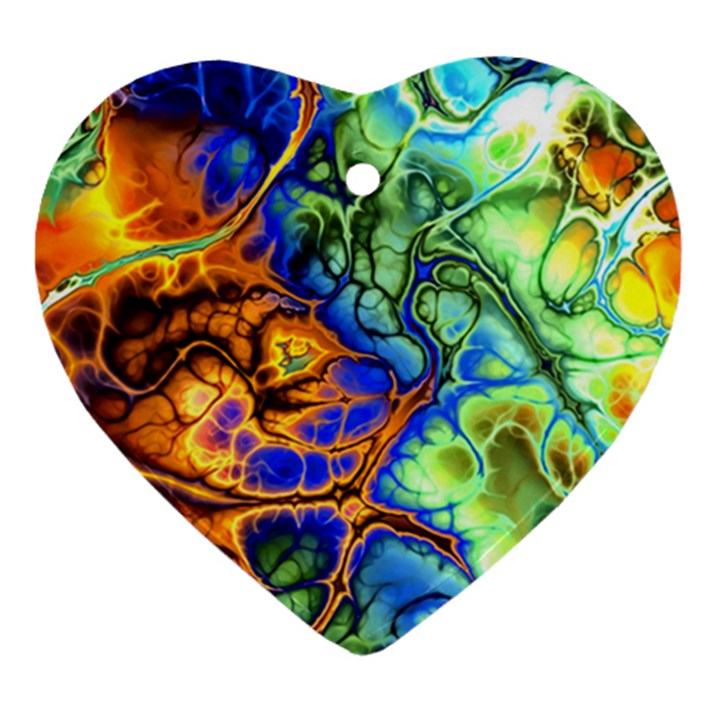 Abstract Fractal Batik Art Green Blue Brown Heart Ornament (2 Sides)