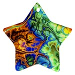 Abstract Fractal Batik Art Green Blue Brown Star Ornament (Two Sides)  Back