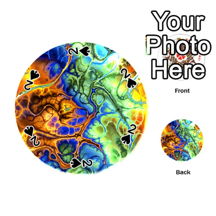 Abstract Fractal Batik Art Green Blue Brown Playing Cards 54 (Round)