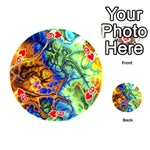 Abstract Fractal Batik Art Green Blue Brown Playing Cards 54 (Round)  Front - Heart9