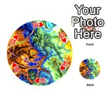 Abstract Fractal Batik Art Green Blue Brown Playing Cards 54 (Round)  Front - Heart10