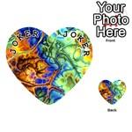 Abstract Fractal Batik Art Green Blue Brown Playing Cards 54 (Heart)  Front - Joker1
