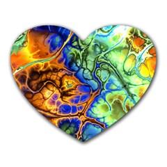 Abstract Fractal Batik Art Green Blue Brown Heart Mousepads