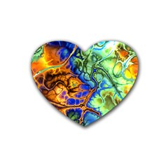 Abstract Fractal Batik Art Green Blue Brown Rubber Coaster (heart)