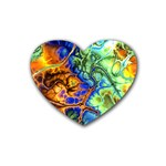 Abstract Fractal Batik Art Green Blue Brown Heart Coaster (4 pack)  Front