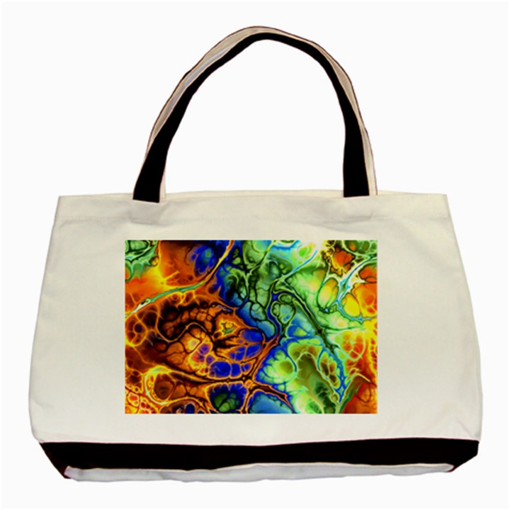Abstract Fractal Batik Art Green Blue Brown Basic Tote Bag (Two Sides)