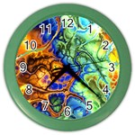 Abstract Fractal Batik Art Green Blue Brown Color Wall Clocks Front