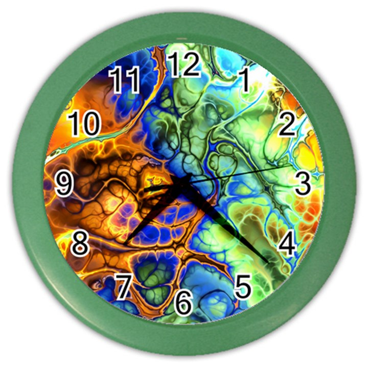 Abstract Fractal Batik Art Green Blue Brown Color Wall Clocks