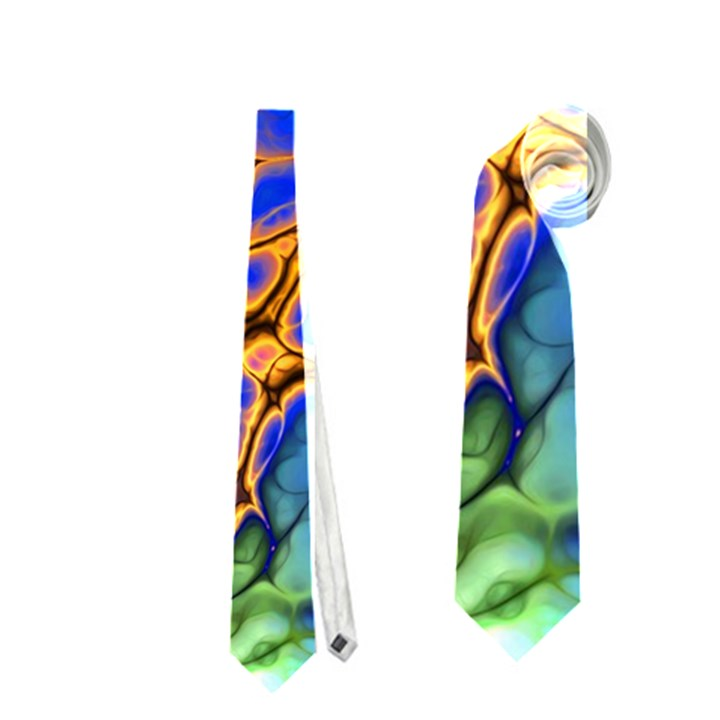 Abstract Fractal Batik Art Green Blue Brown Neckties (One Side)