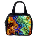 Abstract Fractal Batik Art Green Blue Brown Classic Handbags (One Side) Front