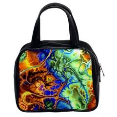 Abstract Fractal Batik Art Green Blue Brown Classic Handbags (2 Sides)