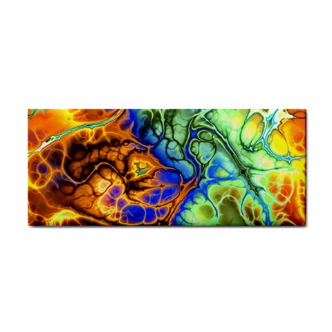 Abstract Fractal Batik Art Green Blue Brown Hand Towel