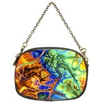 Abstract Fractal Batik Art Green Blue Brown Chain Purses (One Side)  Front