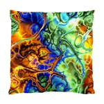 Abstract Fractal Batik Art Green Blue Brown Standard Cushion Case (One Side) Front