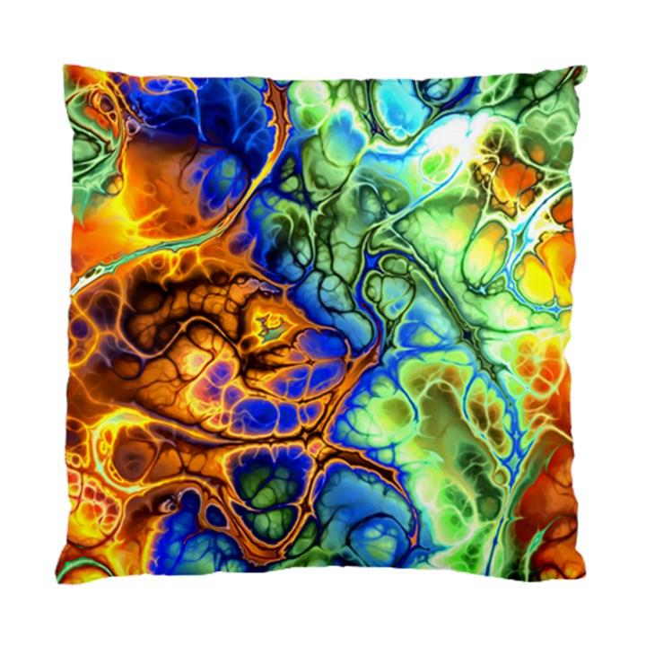 Abstract Fractal Batik Art Green Blue Brown Standard Cushion Case (One Side)
