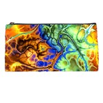 Abstract Fractal Batik Art Green Blue Brown Pencil Cases Front