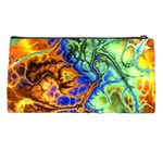Abstract Fractal Batik Art Green Blue Brown Pencil Cases Back