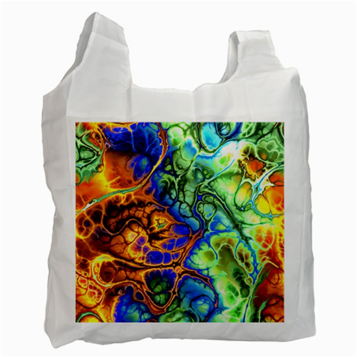 Abstract Fractal Batik Art Green Blue Brown Recycle Bag (Two Side)