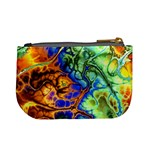 Abstract Fractal Batik Art Green Blue Brown Mini Coin Purses Back