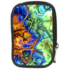 Abstract Fractal Batik Art Green Blue Brown Compact Camera Cases