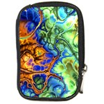 Abstract Fractal Batik Art Green Blue Brown Compact Camera Cases Front