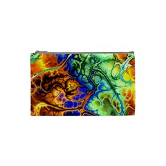 Abstract Fractal Batik Art Green Blue Brown Cosmetic Bag (Small)