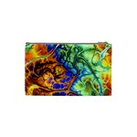 Abstract Fractal Batik Art Green Blue Brown Cosmetic Bag (Small)  Back